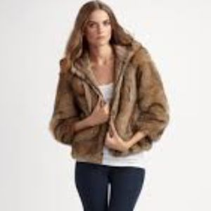 JUICY COUTURE Faux Fur Short Jacket with Hood